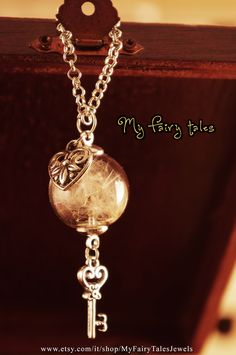 Necklace Glass Globe / Dandelion / Heart and Key Charms