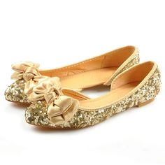 Sequined Bowknot Ballerina Flats