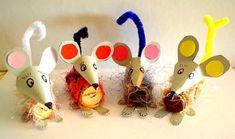 Mäuse aus Wollresten und Korken
