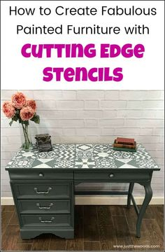Create a painted furniture masterpiece by adding unique stencil patterns from Cutting Edge Stencils. Large wall stencils work great for furniture makeovers. Painted Furniture For Sale, Chalk Paint Furniture, Diy Furniture Projects, Diy Craft Projects, Furniture Makeover, Refinished Furniture, Funky Furniture, Furniture Design, Bedroom Furniture