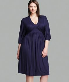 Melissa Masse Plus Size Tie Waist Dress - Flattering Cut For Apples  Pears in A Beautiful Indigo Hue!