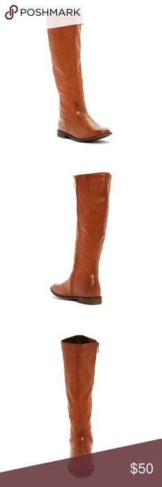 """Denver Tall Shaft Boot Brand new never worn. Sizing: True to size.  - Almond toe - Topstitch construction - Full side zip closure - Stacked heel - Approx. 16"""" shaft height, 14 opening circumference - Approx. 0.75"""" heel - Imported Materials: Manmade upper, PU sole Elegant Footwear Shoes Heeled Boots"""