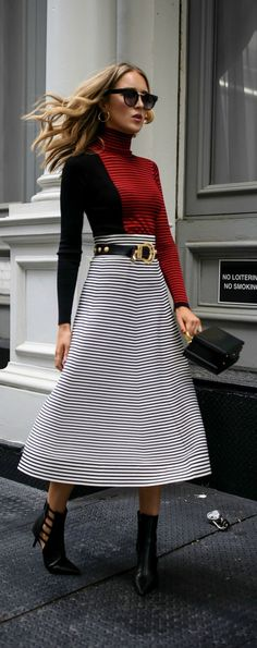 Click for outfit details! // Red and black striped top, black and white midi skirt, leather belt, box crossbody bag, gold hoops, black booties {Sonia Rykiel, Mark Cross, Zara, fashion week}
