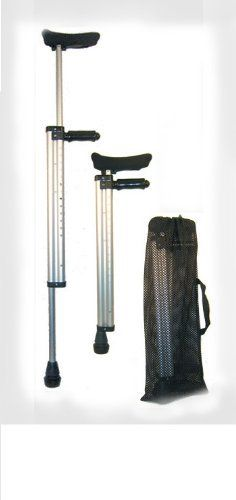 """Fetterman Telescoping Travel Crutches by Telescoping Travel Crutches. $215.00. Telescoping Travel Crutches are the best. These sturdy travel crutches telescope down to just 29"""" so it will fit into most suit cases or stow easily in the overhead bin of a plane or in the trunk of a car.  These are sturdy enough to use as full time everyday crutches and they are rated by the manufacturer to carry up to 250 pounds.  We have upgraded the stock crutch by installing our own Poron Crutc..."""