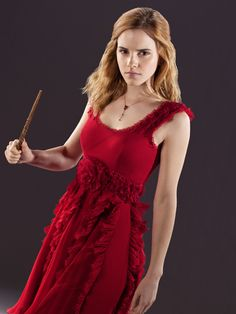 hermione in the dress she wore to bill and fluers wedding in the 7 part one movie