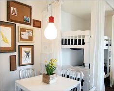 older kids room: bunkbeds with game table