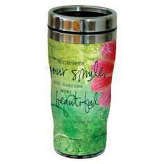 Amazon.com: Tree-Free Greetings 77594 Happiness Quote Your Smile Art Sip 'N Go Travel Tumbler, 16-Ounce, Multicolored: Kitchen & Dining