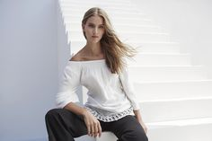 Long sleeve bohemian off-the-shoulder top is perfect for warm summer nights. #auringonalla