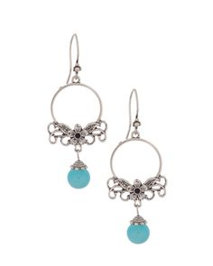 Elegant Floral Earrings With Blue Agate | Rs. 385 | http://voylla.com