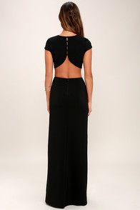 With so many stunning features to chat about, everyone is all atwitter about the Conversation Piece Black Backless Maxi Dress! This sleek and stretchy maxi dress starts off with a rounded neckline and short sleeves, while darting adds a tailored finish to the fitted bodice. A row of buttons top the curvy open back that transitions into side cutouts, and a figure-flaunting maxi skirt with thigh-high slit. Hidden zipper at back.