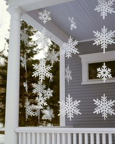 Snowflake decorations: Although these oversize snowflake streamers look delicate, they're made from a sturdy material that allows them to withstand wet weather.