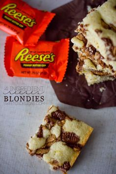 4 Ingredient Reeses Blondies - or cake mix blondies- are a delicious, easy to make dessert with resses or leftover Halloween candy bars!