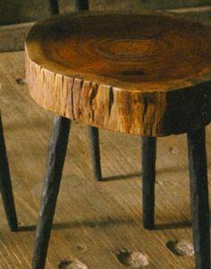 Rustic foot stool iron legs
