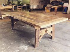 Antique Trestle Farmhouse Table