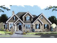 Eplans House Plan: A brick-and-stone facade with arched windows, a covered porch, and shingle siding, decorate the exterior of this exciting home. The foyer showcases an angled staircase and opens generously to the great room