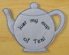 Free Embroidery Designs - Teapot Mug Rug