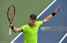 Kyle Edmund of Great Britain reacts against Ernesto Escobedo of the United…