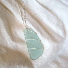 Wire-wrapped Sea Glass Pendant