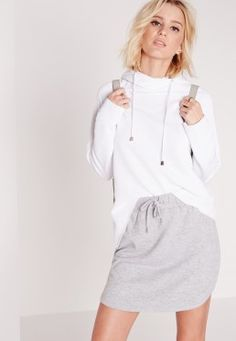 Drawstring Loopback Jersey Mini Skirt Grey