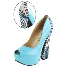 Kiss & Tell Caitlyn09 Turquoise Tribal Heel Pumps and Womens Fashion Clothing & Shoes - Make Me Chic