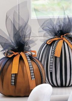 Skip the carving and add instant flair! Could use earth-tone tulle for Thanksgiving .....
