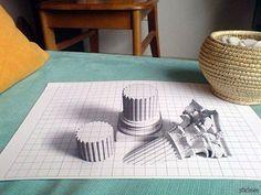 3D рисунок на бумаге