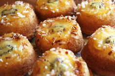 Mini Kiwi Upside-Down Cakes Recipe Desserts with kiwi, butter, sugar, flour, baking powder, eggs, orange juice, coconut