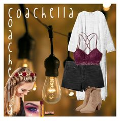 """coachella"" by kat13-official ❤ liked on Polyvore featuring Improvements, H&M, JustFab, Johnny Loves Rosie, Hollister Co. and Burt's Bees"
