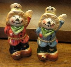 Vintage Ceramic Halloween Scarecrow Salt and Pepper Shakers