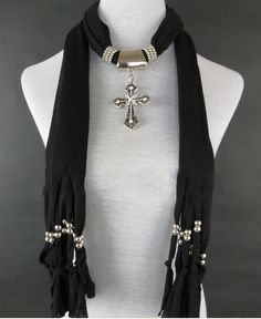 Classic Style Wholesale Jewelry Scarves With Cross Pendant Cheap pendant scarves on www.jewelryscarfcanada.com