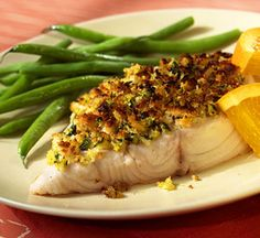 A citrus-studded parsley topping brings out the delicate flavor of the fish in this low-calorie dinner.
