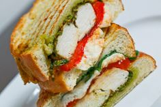 chicken and roasted red pepper panini with cilantro pesto and feta, closetcooking.com