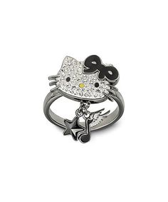 Silver & Black Hello Kitty Rock 52 Ring