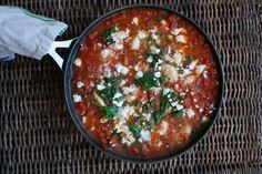A hearty shrimp, tomato and kale stew topped with feta crumbles. Perfect one skillet low FODMAP dish ready in minutes.