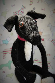 Black Greyhound amigurumi crochet my design