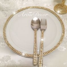 Wedding accessories. #afghanwedding #aroosi #afghan #wedding made by arosidecor #cake #plate #fork #spoon #bling