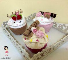 Cupcakes em feltro