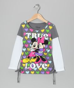 Take a look at this Gray 'True Love' Side-Tie Layered Tee by Disney on #zulily today!