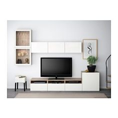BESTÅ Combinaison rangt TV/vitrines, motif noyer teinté gris, Selsviken brillant/blanc verre transparent - 300x20/40x211 cm - glissière tiroir, ouv par pression - IKEA