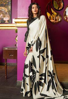 Off White Printed Satin Crepe Saree With Blouse Piece Off White Saree, Diwali Outfits, Crepe Saree, Satin Saree, Casual Saree, Crepe Fabric, Sari Fabric, Traditional Sarees, Saree Dress