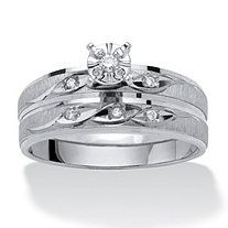 Diamond Accent 10k White Gold Two-Piece Bridal Engagement Wedding Ring Set