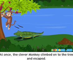 The Crocodile and The Monkey Moral Story with Pictures for Kids in English. English Stories For Kids, English Worksheets For Kids, Short Stories For Kids, English Story, Children Stories, Easy Cartoon Drawings, Easy Drawings, Republic Day Speech, Crocodile Pictures