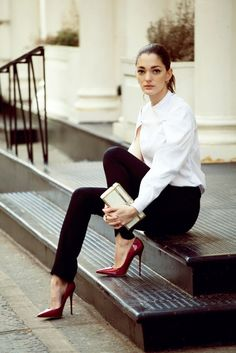 Black pants, white shirt & stunning red heels (jimmy choo) ... a beautiful classic look forSofía Sánchez Barrenecheaphotos by silja magg for vogue espanaxx debra
