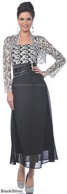 MOTHER of the GROOM BRIDE DRESS FORMAL EVENING PLUS SIZE CHURCH GOWN WITH JACKET