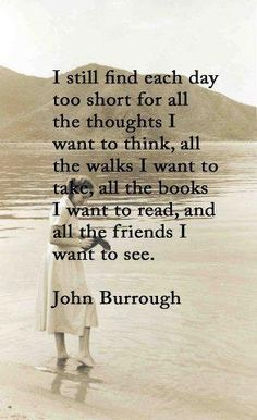 I still find each day too short for all the thoughts I want to think, all the walks I want to take, all the books I want to read, and all the friends I want to see. -- John Burroughs