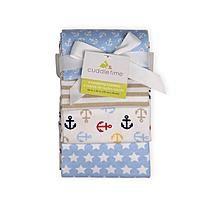 Cuddletime Newborn Boy's 4-Pack Receiving Blankets - Nautical