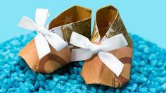 Geldgeschenk zur GEBURT oder Taufe, Babyschuh falten/basteln Anleitung