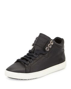 X2BJH Rag & Bone Kent Leather Mid-Top Sneaker, Black