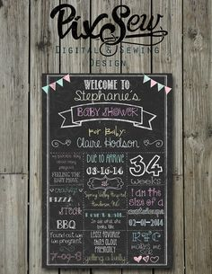 Baby Shower Chalkboard Personalized & Custom Colors by PixSew, $15.00
