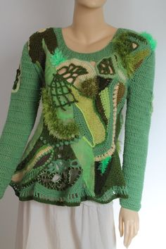 Crochet Sweater Unique Boho Chic Fairy Gypsy Pixie Freeform Crochet Nuno Felted Sweater Tunic Top, Long Sleeves - Wearable Art -Size L - XL